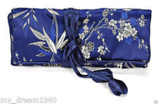 SILK JEWELRY TRAVEL BAG Roll Case Pouch Carrying Brocade Fabric Blue Bamboo NEW