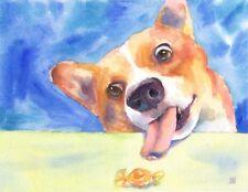 "Original Watercolor,  ""Caught in the Act"" Corgi Art, Candy Art, 8.5x11"""