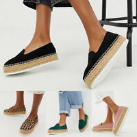 Womens Lady Platform Espadrilles Pumps Ladies Summer Slip On Comfy Loafers Shoes