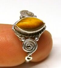 Handmade 925 Sterling Silver Patterned Tiger's Eye Marquise Stone Ring Size S