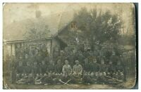 Antique WW1 military RPPC postcard regiment of German soldiers with swords