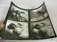#9  Vintage  Nude Risque Art Photography 4 Photo Contact Sheet Slumber in Bed
