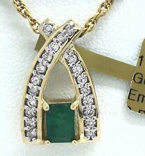 Genuine Emerald & Diamonds 14k Yellow Gold Pendant