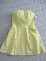 Lilly Pulitzer Starfruit Blossom Yellow Strapless Dress Size 10 NWT 268.00