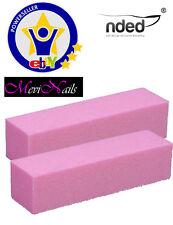 2x Taco Pulidor rosa, Lima Bloque  uñas gel uv, nail art, decoracion, tips Nded