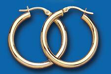 Hoop Earrings Yellow Gold Hoops Creole Heavyweight Plain 24mm Hallmarked