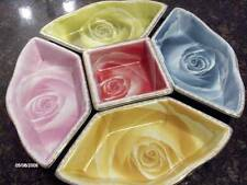 Casati Porcelain Lazy Susan Turntable 5 Tray Revolving Server Desert Rose Design