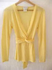 PAUL & JOE size 2 (UK 12 US 8)  Canary 100% Wool Twist V Neck Long Sleeve Top