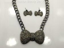Crystal Bow Tie Necklace Set - Hematite