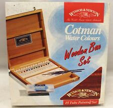 WINSOR & NEWTON Cotman Water Colours Wooden Box Set 15 Tubes - R37