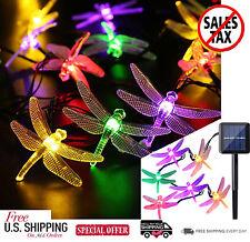 Outdoor Dragonfly Solar Powered  String Lights 20 Led Fairy Lighting Garden Yard