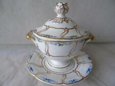 Antique Early Derby Pedestal Trotter Service Shape Sauce Tureen Cover & Stand