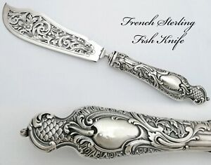 French Sterling Silver Handled Fish Serving Knife - Rococo decor