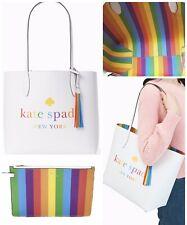 KATE SPADE Arch Rainbow Logo Large Reversible Tote Leather + Wristlet Pride Bag