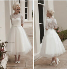 White Ivory Tea-Length Beach Wedding Dress Half Sleeves Lace Tulle Bridal Gowns