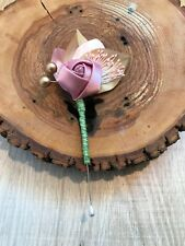 HANDMADE LEAVES ROSE BOUTONNIERE ROSE GOLD GLITTER RIBBON WRAPPED