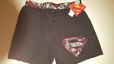 Superman Logo  Boxer Shorts Underwear Black S NWT