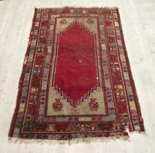 Handmade Red Shabby Chic Kilim Rug 3x5 Unique Turkish Vintage Wool Anatolian Rug