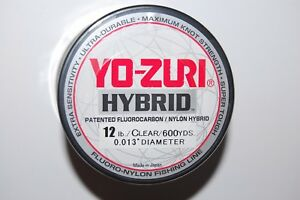 yo zuri fluorocarbon nylon hybrid 12lb lo-vis clear 600yds spool fishing line