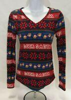 Women's Small (3-5) Multi-Colored No Boundaries Christmas Long Sleeve T-Shirt
