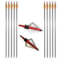 """Screw-in Tip 31"""" Mix Carbon Arrows SP400 Archery Hunting Broadheads Fletched Bow"""