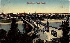 Mannheim am Neckar AK 1913 Neckarbrücke Brücke mit Straßenbahn Tram gelaufen