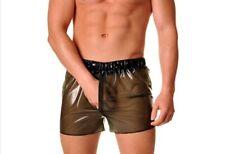 100% Latex Shorts Rubber Casual Mens Smoky Gray Swimwear Sport Boxer S-Xxl 0.4mm