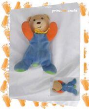 Doudou Peluche Mini Ours Bleu Orange Vert Noeud Jaune Hochet Kaloo