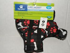 TOP PAW LIFE JACKET FOR DOGS 15-30 LBS SIZE SMALL PAW & DOG PRINT NEW WITH TAGS