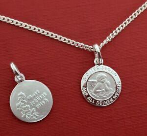 Schutzengel Gott schütze Dich & Gottes Segen Echt Silber 925 Anhänger mit Kette