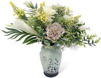 Artificial Faux Flower Arrangement with Ceramic Vase, Decor for Home Kitchen
