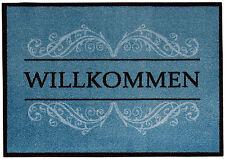 Fußmatte Türmatte Sauberlaufmatte Schmutzfangmatte Willkommen Fußabtreter Blau