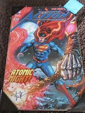 DC Action Comics Superman #22 Cover Wood Wall Sign Hand Signed Kirkham & Lobdell
