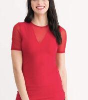 NWT Agnes & Dora Sheer V Neck Red T-Shirt Top Stretchy Long Size S NEW