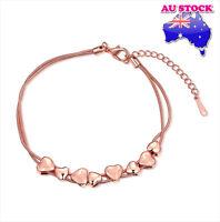 18K Rose Gold Filled Women's multilayer Love Heart Charm Bracelet