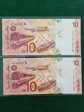 (JC) 2pcs RM10 11th Series Signed Zeti Replacement Note ZC 1921214 - 215  UNC