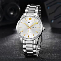 BIDEN Men's Water Resistant Calendar Analog Quartz Wrist Watch Steel Wristband