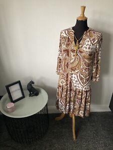 Next Dress Size 14 - Autumnal - Smock Trapeze Dress - Paisley Print