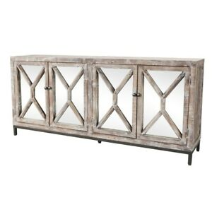 """81.5"""" W Sideboard Reclaimed Pine Mirror Doors Hand Finished and Distressed"""