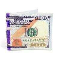 Men's Bi-Fold $100 Hundred Dollar Bill Printed Leather Wallet 6 Pockets