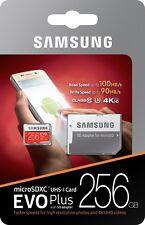 New Samsung 256GB microSDXC EVO Plus 100MB/s U3 4K C10 256G microSD MB-MC256GA
