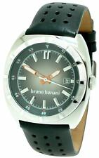 Bruno Banani GT3.101.301 Steel Gents Black Leather Date Watch Brand New in Box