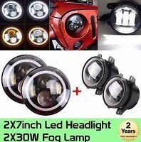 "7""in LED Halo Headlights + 4'' LED Fog Light DRL Combo Kit fits Jeep Wrangler JK"
