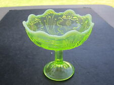 1897 Northwood Vaseline Opalescent INTAGLIO Pattern Jelly Compote Dish