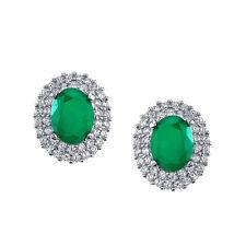 925 Sterling Silver Formal Stud Emerald CZ Earrings Cubic Zirconia Pushbacks