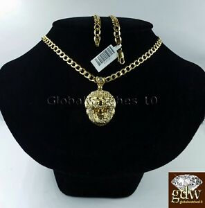 "Real Mens 10k Gold Lion Head Charm Pendant with 28"" Inch Miami Cuban Link Chain."