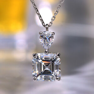 4Ct Asscher Cut Moissanite Solitaire Pendant 14K White Gold Finish Free Chain