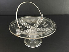 Antique Eapg clear pressed glass footed compote w/ metal handle 1850's - 1860's