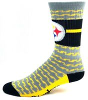 Pittsburgh Steelers Football Gray and Yellow Chain Link Design Band Crew Socks