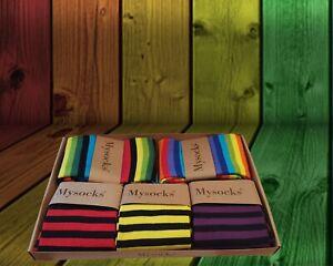 MYSOCKS 5 Pairs Multi Colour Stripe Design Combination Socks Gift Box